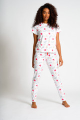 Ladies Hearts & Arrows Print S/S Top & Leggings Pyjama Set