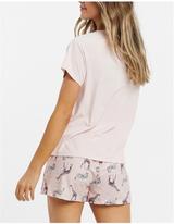 Ladies Pink Party Animals S/S Top & Shorts Pyjama Set