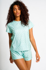 Ladies Mint Sage Spotted Jersey S/S Top & Shorts Pyjama Set