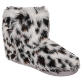 Ladies Black & White Animal Print Shaggy Faux Fur Slipper Boots
