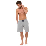 Mens Pale Grey Honeycomb Cotton Jersey Lounge Shorts