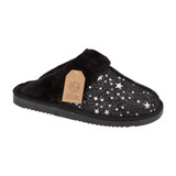 Jo & Joe Ladies Tiggi Black Star Print Fur Collar & Lining Mules