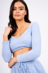 Ladies Blue Fuzzy Fleece Long Sleeved Cropped Lounge Top