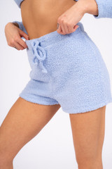 Ladies Blue Fuzzy Fleece Lounge Shorts
