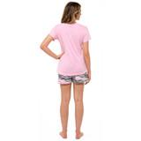 Ladies Pink Zzz Zebra T-Shirt & Shorts PJ Set