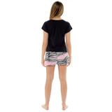 Ladies Wild Heart Black T-Shirt & Stripe Shorts PJ Set