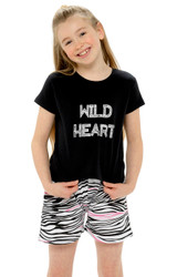 Girls Wild Heart Black T-Shirt & Stripe Shorts PJ Set