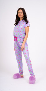 Ladies Purple Pool Float Crocodile S/S Top & Leggings Pyjama Set