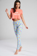 Ladies Slogan Boxy S/S Top & Fruit Print Leggings Pyjama Set