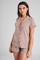 Ladies Mink Jersey Short Sleeved Shirt & Shorts Pyjama Set