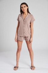 Ladies Mink Jersey Short Sleeved Shirt & Shorts Pyjama Set