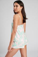 Ladies Pink Palm Print Cami Top & Shorts Pyjama Set
