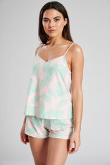 Ladies Pink Palm Print Cami Top & Shorts Pyjama Set