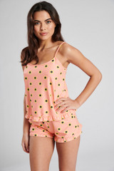 Ladies Peach Sunflower Print Frill Cami Top & Shorts Pyjama Set