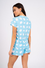 Ladies Clouds Print Blue Jersey S/S Top & Shorts Pyjama Set