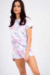 Ladies Pastel Tie Dye Jersey S/S Top & Shorts Pyjama Set