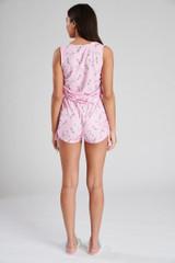 Ladies Pink Unicorn Print Ruched Sides Vest & Shorts PJ Set
