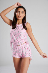 Ladies Pink Unicorn Print Ruched Sides Vest & Shorts PJ Set