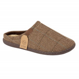 Jo & Joe Mens Harrison Brown Check Tweed Mule Slippers