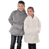 Kids Grey Fleece Oversized Reversible Sherpa Hoodie Poncho