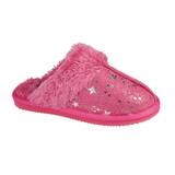 Jo & Joe Girls Tiggi Pink Star Print Fur Collar & Lining Mules