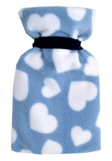 Blue Hearts Cosy Fleece Mini 0.5L Hot Water Bottle & Cover