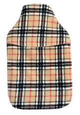 Beige Tartan Check Cosy Fleece 2L Hot Water Bottle & Cover