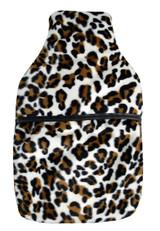 Cheetah Faux Fur Leather Trim 2L Hot Water Bottle & Cover