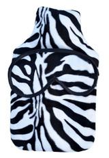 Zebra Faux Fur 2L Hot Water Bottle & Eye Mask Gift Set