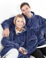 Navy Fleece Oversized Reversible Sherpa Hoodie Poncho