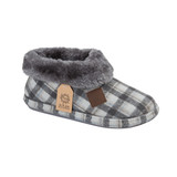 Jo & Joe Ladies Glenroyal Charcoal Check Fur Lined Ankle Boot Slippers