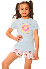 Girls Donut Worry Be Happy S/S Top & Short Bottom Pyjamas
