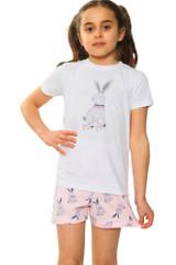Girls Pretty Bunny S/S Top & Short Bottom Pyjamas