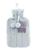 Silver Grey Cosy Faux Fur Pompom 2L Hot Water Bottle
