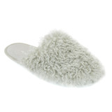 Ladies Grey Long Pile Shaggy Lion Fleece Mule Slippers