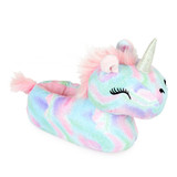 Girls Dreamy Unicorn Sparkly Fleece 3D Novelty Slippers
