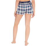 Ladies Navy Checked Woven Cotton Lounge Shorts