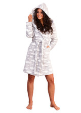 Ladies Silver Clouds Snuggly Sherpa Fleece Hooded Bath Robe