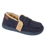 Jo & Joe Boys New Hampshire Navy Faux Suede Moccasin Slippers