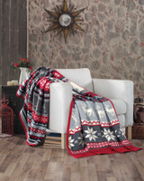 Red & Grey Fair Isle Luxury Fleece Reversible Blanket Throw