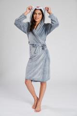 Ladies Husky Grey Plush Fleece Novelty Hood Bath Robe