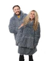 Yeti Grey Shaggy Fur Reversible Sherpa Oversized Hoodie Poncho