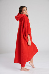 Ladies Red Snuggly Borg Fleece Oversize Hooded Poncho