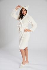 Ladies Snow Owl Snuggly Borg Fleece Novelty Hood Bath Robe