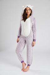 Ladies Lilac Hedgehog Sherpa Fleece 3D Novelty Hood Onesie