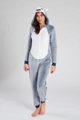 Ladies Blue Grey Husky Plush Fleece 3D Novelty Hood Onesie