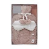 Pink Faux Fur Hot Water Bottle & Satin Eye Mask Gift Set