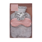 Grey Faux Fur Hot Water Bottle & Satin Eye Mask Gift Set