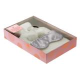 Cream Faux Fur Hot Water Bottle & Satin Eye Mask Gift Set