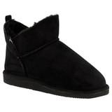 Ladies Black Microsuede Faux Fur Lined Slipper Boots